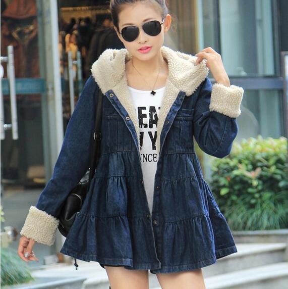 2015 new arrival women denim parka jacket thick slim hood winter women denim jacket fleece jeans coat DX516Одежда и ак�е��уары<br><br><br>Aliexpress