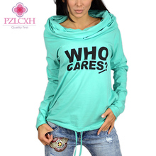 PZLCXH 2017 Autumn Women Hoodies Sweatshirt Women Tracksuit Casual Long-sleeve Letter Print Hooded Sweatshirts Pullovers DQ033