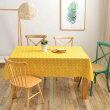 Yellow Decorative Table Cloth Cheap Linen Table Cover Dining Table Cover for Kitchen Home Decor Geometric Patterns(China)
