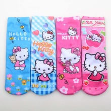 2017 New Soft Cotton Hello Kitty Cotton Socks Kids Girls Novelty 3D printing Cattoon funny socks art kids anti slip for girls