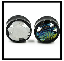 2pcs Cute Turtle Acrylic Double Flared Ear Plug Gauge Ear Taper Stretcher Expander Piercing Jewelry 10mm--25mm Fashion