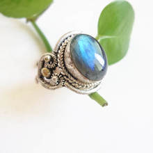 R087 Nepal Hand Jewelry Copper Inlaid Natural Labradorite Vintage Rings Open Big Size for Man(China)