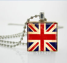 Union Jack Necklace Union Jack United Kingdom Flag Scrabble Tile Pendant - Ball Chain Necklace Included Scrabble Jewery