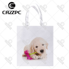 Golden Retriever Puppy Dog Pet  with Flower Print Individual Lightweight Polyester Fabric Reusable Grocery Bag Pack of 4