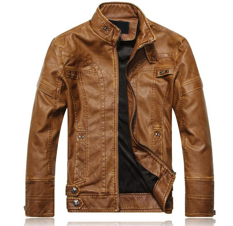 Men Motorcycle Biker leather jacket mens jaqueta de couro masculina leather jacket Windbreak coats