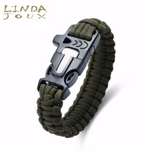 LINDAJOUX Army Survival Rope Paracord Braided Bracelet Sport Outdoor Camping Emergency Whistle Buckle Bracelets Fashion Jewelry