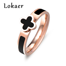 Lokaer Trendy Romantic Clover Stainless Steel Rings Micro Inlay Black Acrylic Cubic Zirconia Wedding Ring Jewelry for Women Gift(China)
