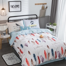 4pcs Fashion Feather Print 100% Cotton Bedding Set Twin Full Queen Size Duvet Cover Flat/Fitted Bed Sheet Pillowcase Bedlinen