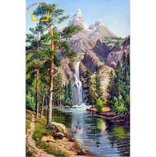 HOME BEAUTY oil paint painting by numbers diy picture waterfall drawing on canvas oil painting by hand coloring landscape GX7364(China)