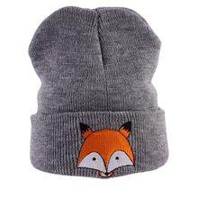 Invierno Primavera de punto bebé sombrero de dibujos animados Fox impreso  casquillo caliente Niños Niñas color 42e038d93e1