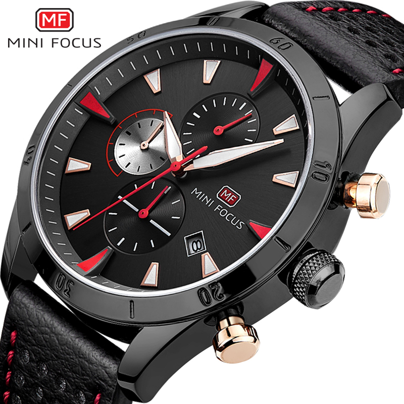 2017 New MINIFOCUS Luxury Brand Quartz Watches Men Analog Chronograph Clock Men Sport Military Leather Strap Fashion Wrist Watch<br>