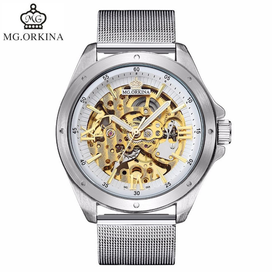 2017 MG.Orkina Relogio Masculino de luxo Men See Through Auto Mechanical Watches Wristwatch Christmas Gift With Box Free Ship<br>