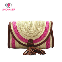 2017 Summer New Women Straw Messenger Bags Woven Day Clutch Flap Bag Beach Package Crossbody Tassel Shoulder Bags YBB106