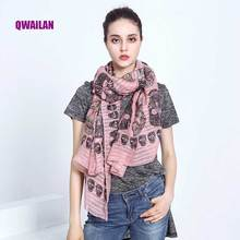 Luxury Brand Bandana Scarve Woman Silk Scarf Women Shawl High Quality Mixed Colors Sunscreen Beach Towel Thin Long Skull head