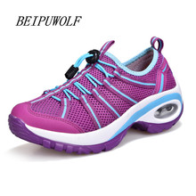 2017 Spring New Women Girls' Height Increasing Running Shoes Breathable Sports Shoes Comfortable Outdoor Walking Sneakers(China)