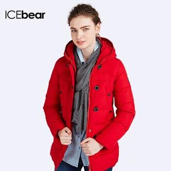 ICEbear 2016  Куртки женские качественые Пуховики воротник-стойка с плюшевым капюшоном Большие размеры Пуховика 16G6138