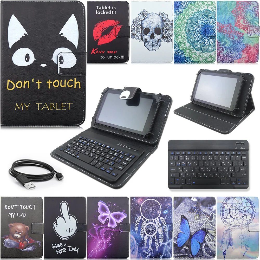 New Russian language Bluetooth Cartoon Universal Leather Case Cover with USB Keyboard for 9/10 inch Table PC Keyboard holster<br><br>Aliexpress