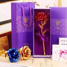Creative Valentine's day Birthday wedding gift 24k golden rose lover's flower Gold Dipped Rose artificial flower L50(China)