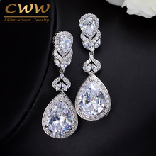 CWWZircons Elegant Water Drop Shaped Cubic Zirconia Crystal Bridal Long Earrings Luxury Wedding Jewerly For Brides CZ166(China)