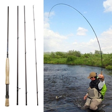 "Portable 4-Piece Fly Rod 9'0"" 2.7m Carbon Fiber Fly Fishing Rods China Travel Spinning Handle Pole For #5/6 Line Wt"