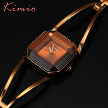 Famous Brand KIMIO Luxury Watch Women Square Quartz-Watch Stainless Steel Fashion Ladies Bracelet Watches Women Watches Female(China)