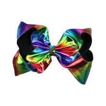 8 Inch Girls' Large Leather Hair Bow Gradient Laser Hairclips Handmade Children's Stylish Headdress Rainbow Hair Accessories