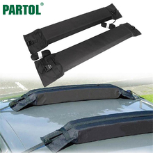 Partol Black Universal Auto Soft Car Roof Rack Outdoor Rooftop Luggage Snowboards Carrier Load 60kg Baggage Easy Fit Removable(China)