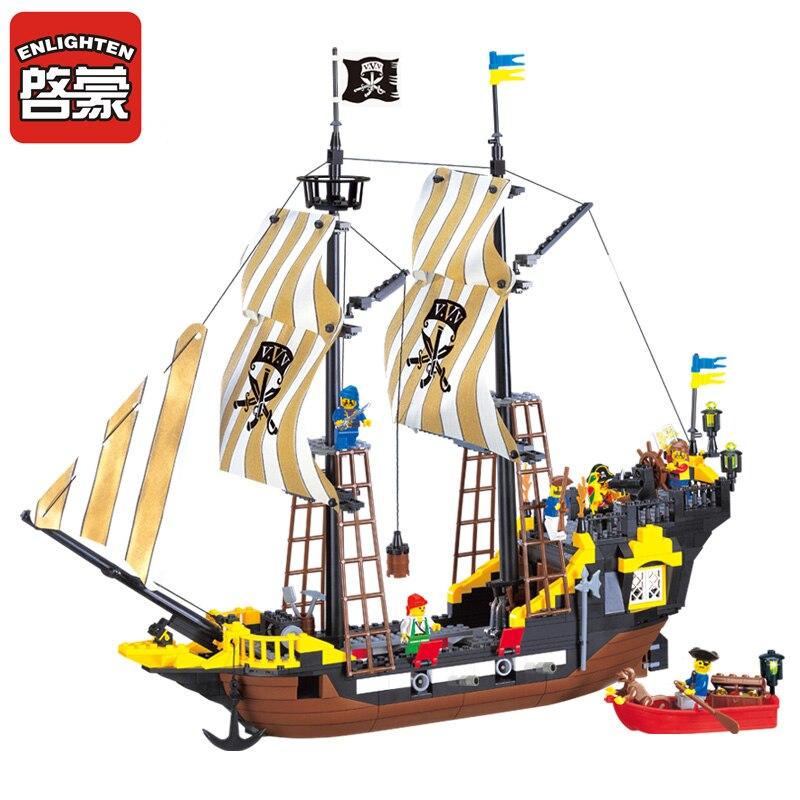 Enlighten 2017 NEW Building blocks 307 590Pcs Pirate Ship Weapons Model Building Kits Blocks Brick Educational Toys for children<br>