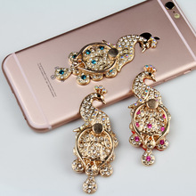 360 Degree Bling Rhinestone Cute Peacock Finger Ring Holder Universal Mobile Phone Stander Finger Grip for iPhone Samsung Xiaomi