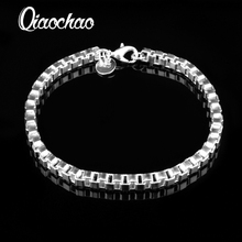 silver plated 4MM box creative women men cute nice bracelets new listings high quality fashion jewelry Christmas gifts S59