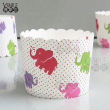 50pcs Big Size Colorful Elephant Taxi Bus Mermaid Ariel wedding happy birthday party Paper muffin Dessert Baking cupcake cup(China)