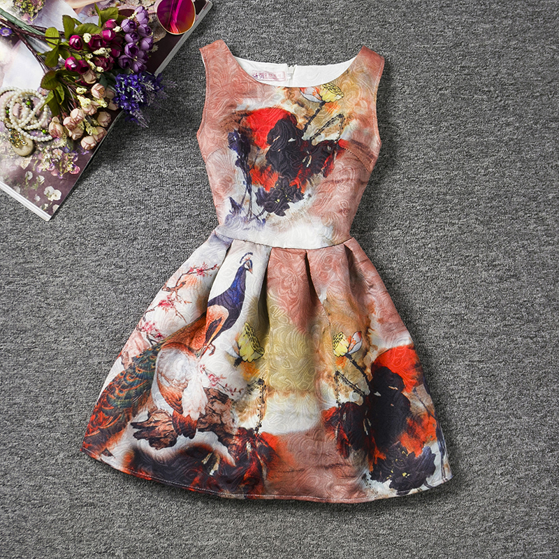 Summer Fashion Peacock Girl Flower Dress Tutu Christening Sleeveless Robe Fille Casual Print Series Dresses Kids 12 Years Old<br><br>Aliexpress