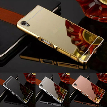 Buy Luxury Gold Plating Aluminum Metal Frame+Mirror Acrylic Sony Xperia Z5 Phone Case Back Sony Z5 case for $2.51 in AliExpress store