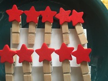 120pcs Colorful Star Decorated Clothespin Pegs/Wooden Clips/Decorative Wooden Pegs/ Place Card Holder for Children's Party Favor