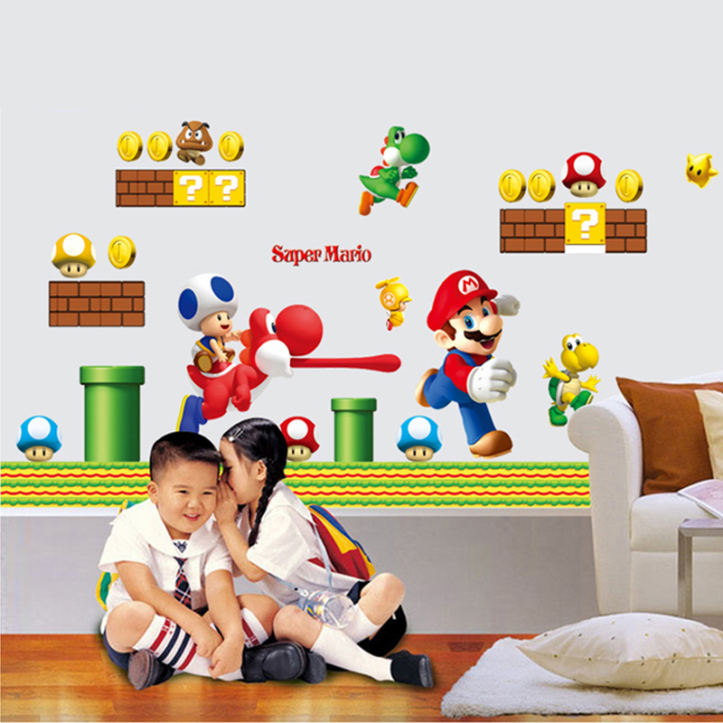 HTB1GYH.OpXXXXaDXXXXq6xXFXXXH Super Mario Bros Kids Removable Wall Sticker Decals Nursery Home Decor Vinyl Mural for Boy Bedroom Living Room Mural Art