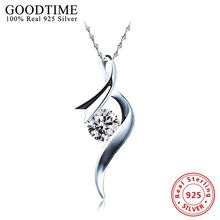 100% 925 Sterling Silver Pendant Necklaces Pure Sterling Silver 925 Necklace Real Silver Collar Colar de Plata AJN035(China)