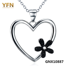 YFN 2016 New Fashion Collares 925 Sterling Silver Heart Necklace Jewelry Black CZ Crystal Flower angel Pendant Necklace