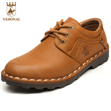 VESONAL Brand Business Genuine Leather Man Casual Shoes Men Adult Quality Spring Autumn Walking Footwear Breathable Male Shoes(China)