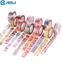 AAGU 2017 15mm*10m 1PC Cute Cartoon Unicorn Design Washi Tape Tor Decoration Notebook Various Patterns Adhesive Tape(China)