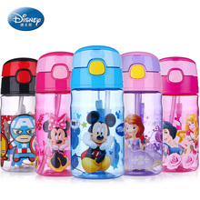 Disney Baby Cup feeding Portable Straw Bottle 400ML Minnie Mickey Mouse baby water bottle Leak proof Child's nursery drinkware
