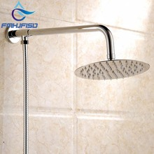 "Wall Mounted Chrome Finish Round Rain Shower Head Brass Shower Arm Hose G1/2"" Connection"