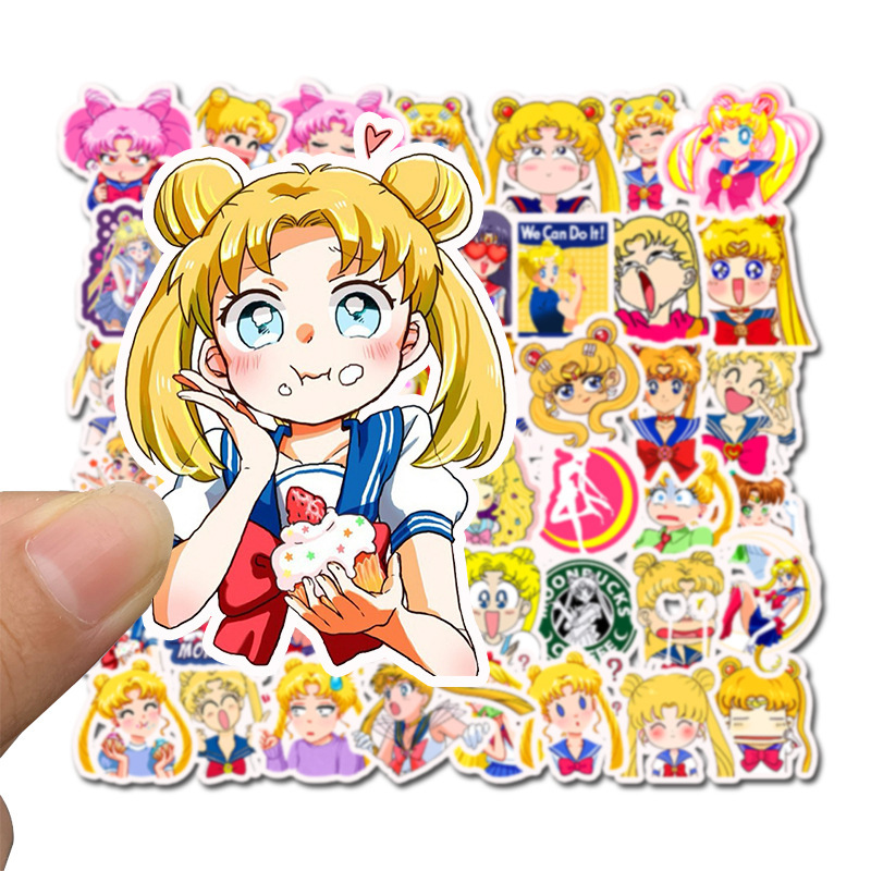 Sailor Moon Stickers 75PCS Anime Girl Stickers for Teens Classic Japanese Cartoon Waterproof Vinyl Stickers Cute Anime Stickers Laptop Stickers Skateboard Stickers Motorcycle Luggage Car Bike