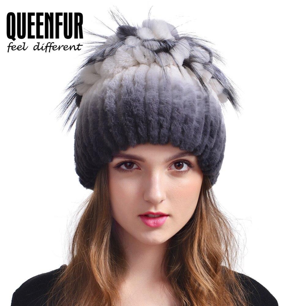 Real Rabbit Fur Hat For Women High Quality Natural Rex Rabbit Fur Beanies With Fox Fur Pom Poms Cap 2017 New Thick Fur HeadgearОдежда и ак�е��уары<br><br><br>Aliexpress