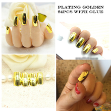 24pcs/set Metal Artificial False Nail Tips Square Plating Gold Full Acrylic Fake Nails Art Salon Tips Square Full False Nails