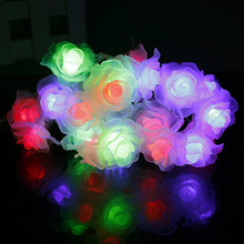 1pcs 20Leds LED String Rose Lighting nightlight Flower warm white pink color Party Wedding room Christmas Fairy Holiday Decor W(China)