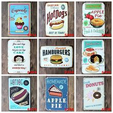 Tin Plate Wall Decor Ancient Ways Frameless Draw Bar Cake Hamburgers Ice Cream tin plate poster metal signs iron sheet