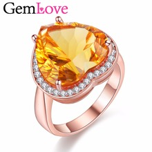 Gemlove Heartstone Citrine Ring 925 Sterling Silver Rings with Natural Stone Rose Gold Plated Gemstones Engagment Ring 40% FJ050