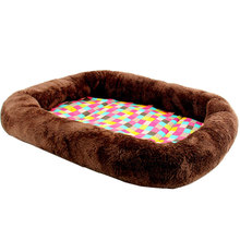 Colorful Plaid Large Cotton Washable Dog Bed Warm Fabric Cozy Soft Dog Sofa for Cat Puppy Chihuahua House Petshop Mat(China)
