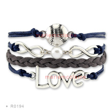 (30 PCS/lot) High Quality Infinity Love Baseball Bracelet Softball Bracelet -  Jewelry  Styles/ Offer Drop Shipping