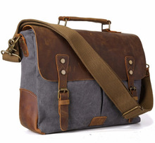 Vintage men's canvas messenger bag horse crazy  leather man soft travel bags school bag retro lock military style hangbags
